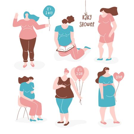 Pregnant women, vector flat set. It's a boy and it's a girl signs on balloons, cute concept.