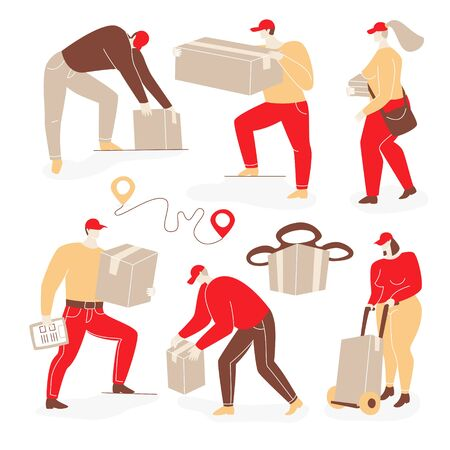 Delivery illustration with people. Man and women deliver parcels, drone delivery concept.