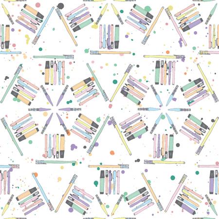 Pastel pennen en potloden naadloze terugkeerpatroon gerangschikt in zeshoeken op een kleurrijke inkt splatter achtergrond. Perfect voor briefpapier, verpakking, stof.