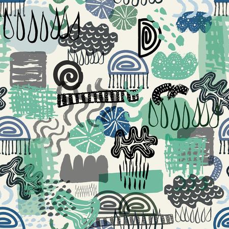 Modèle de forme organique et géométrique abstraite sans soudure de vecteur vert et bleu représentant l'élément eau. Parfait pour le tissu, la décoration intérieure, les vêtements et accessoires, le papier cadeau, la papeterie