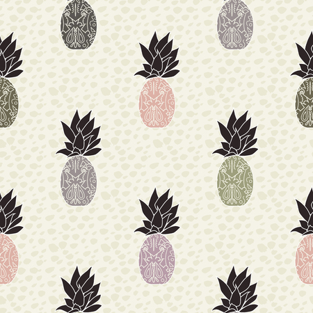 simple modern vector pineapple repeat pattern seamless background wallpaper with animal print background. Perfect for fabric, home decor, kitchen, apparel, gift wrap, stationery. Ilustração