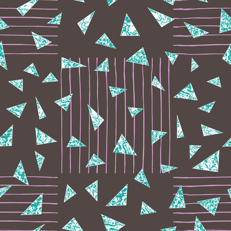 Vector marble triangles seamless repeat pattern background with hand drawn vertical and horizontal lines arranged in squares in the background. Vector Illustration