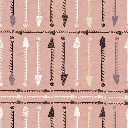 Vector stylized hand drawn tribal arrows seamless pattern. Perfect for fabric, apparel and accessories, home decor, stationery, packaging, gift wrap
