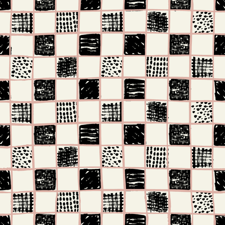 Vector hand drawn checkers pattern with doodle squares. Perfect for fabric, apparel and accessories, home decor, stationery, packaging, gift wrap