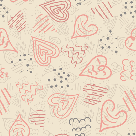 Vector pink and cream doodle hearts seamless repeat pattern background. Perfect for fabric, home decor and furnishing, wrapping paper, stationery, backdrops, occasions and more. Иллюстрация