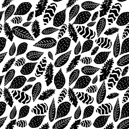 Vector abstract black and white stylized tribal leaf seamless repeat pattern background. Perfect for fabric, home decor, stationery, backdrops.