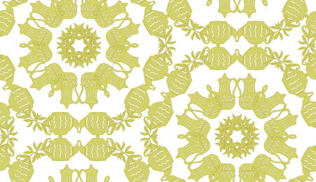 Vector green seamless pattern background of vintage teapots in a geometric arrangement. Perfect for fabric, scrap booking, wallpaper, invitations, gift wrap