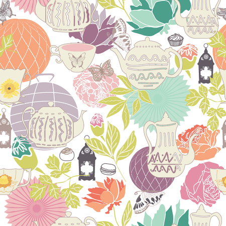 vector pastel vintage garden tea party seamless pattern background in a flower garden-like arrangement. Ideal for wallpaper, fabric, scrap booking, invitations, cards, gift wrap