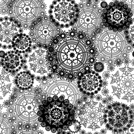 Vector seamless black and white abstract pattern background with doilies, circles, mandalas. Perfect for fabric, gift wrap, scrap booking, wallpaper, background