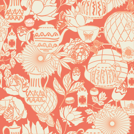 Vector peach and white vintage garden tea party seamless pattern background in a flower garden-like arrangement. Ideal for wallpaper, fabric, scrap booking, invitations, cards, gift wrap
