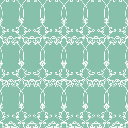 vector blue green arabesques seamless pattern background. Perfect for fabric, scrapbooking, wallpaper and backgrounds.
