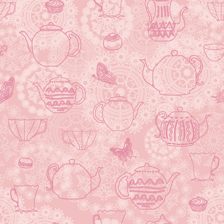 vector pink vintage seamless pattern background with teapots teacups butterflies cakes and doilies backdrop. Perfect for fabric, scrap booking, wallpaper, invitations, gift wrap