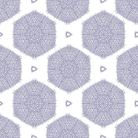 Scribble textured hexagon seamless pattern background, with a frayed canvas effect. Vector Illustration.