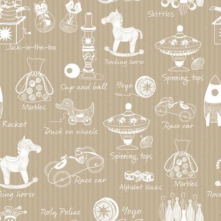 Illustrations de jouets en bois traditionnels VIntage sur papier kraft de fond vectorielle continue. Parfait pour le papier peint, le papier d'emballage, le tissu, la réservation de ferraille, la décoration intérieure, les toiles de fond et plus encore. Vecteurs