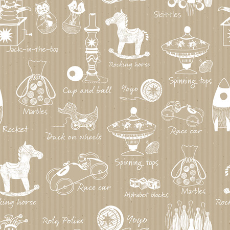 VIntage traditionnal wooden toys illustrations on kraft paper seamless vector pattern background. Perfect for wallpaper, wrapping paper, fabric, scrap booking, home decor, backdrops and more.