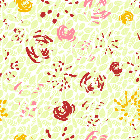 Creative loose floral seamless pattern background made with inky brush strokes. Abstract flowers and leaves. Vector