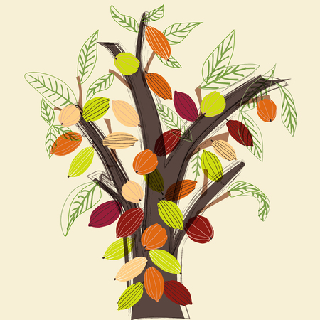 Colorful cacao tree illustration in a stylized modern style, on neutral background. Fully editable vector format.