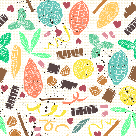 Colorful stylized cacao pods with chocolate bars and spices. seamless vector pattern background. Ideal for fabric, home decor, apparel and accessories, wallpaper, packaging and other paper goods.