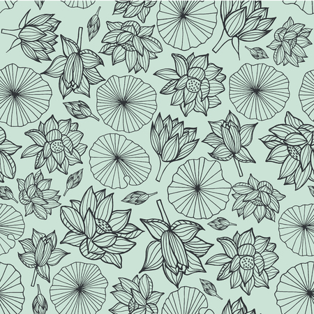 Black lineart waterlilies or lotus flowers and leaves seamless pattern background texture on pastel blue background. Vector. Ideal for home decor, fabric, paper goods, packaging.