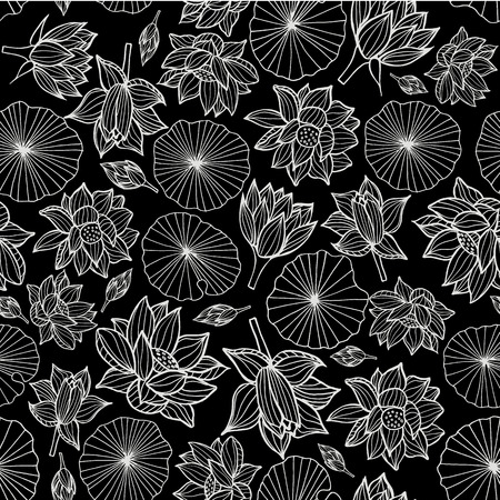 White on black waterlilies or lotus flowers and leaves seamless pattern background texture in a modern elegant style. Vector.