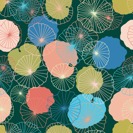 Waterlilies or lotus flowers and leaves in a pond seamless pattern background texture in a modern colorful style. Vector. Ideal for home decor, fabric, paper goods, packaging.