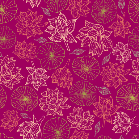 Waterlilies or lotus flowers and leaves seamless pattern background texture in a modern colorful style. Vector. Ideal for home decor, fabric, paper goods, packaging. Illustration