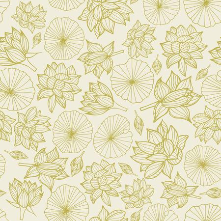 Seerosen oder Lotusblumen und Blätter nahtlose Muster Hintergrundtextur in einem monochromen Lineart-Stil. Vektor.. Ideal für Wohnkultur, Stoffe, Papierwaren, Verpackungen.