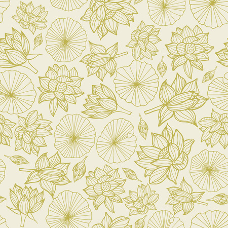 Waterlilies or lotus flowers and leaves seamless pattern background texture in a monochrome lineart style. Vector.. Ideal for home decor, fabric, paper goods, packaging.