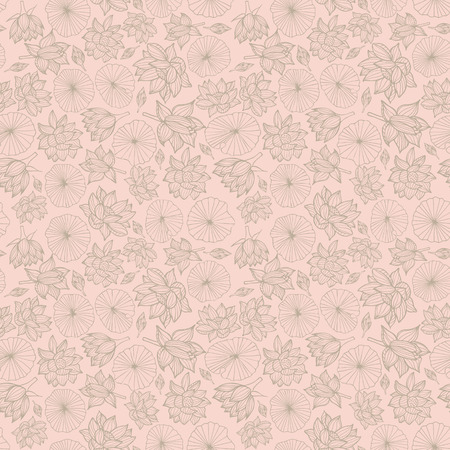 Waterlilies or lotus flowers and leaves seamless pattern background texture in a lineart style. Vector. Ideal for home decor, fabric, paper goods, packaging.