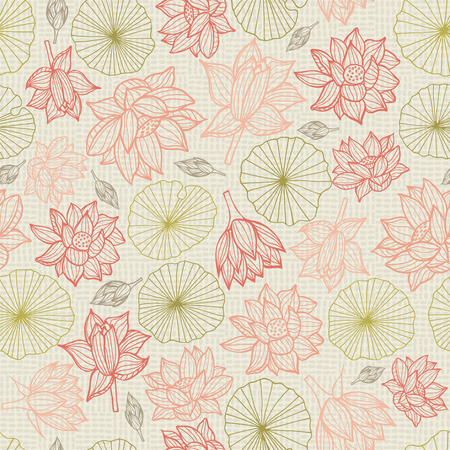 Waterlilies or lotus flowers and leaves seamless pattern background texture in a modern lineart colorful style. Vector. Ideal for home decor, fabric, paper goods, packaging.