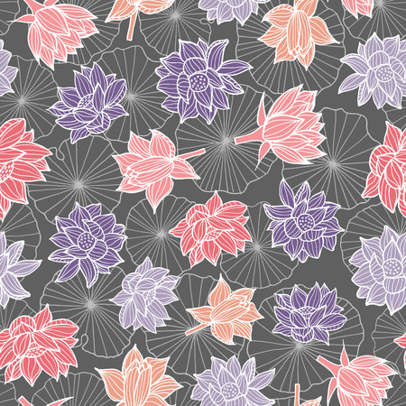 Waterlilies or lotus flowers and leaves in a pond seamless pattern background texture in a modern colorful style. Vector.Vector. Ideal for home decor, fabric, paper goods, packaging.