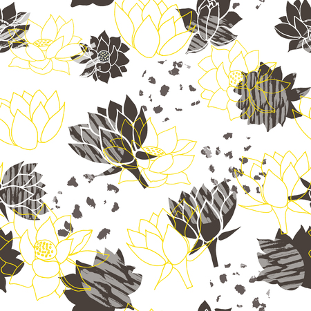Trendy abstract yellow and grey waterlilies or lotus flower seamless vector pattern background. Ideal for home decor, fabric, paper goods, packaging.