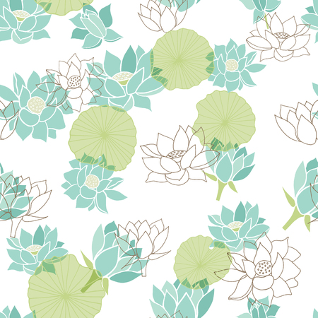 Elegant modern waterlilies or lotus flowers on transparent leaves seamless pattern background in grey and blue scheme color. Vector. Ideal for home decor, fabric, paper goods, packaging. Illustration
