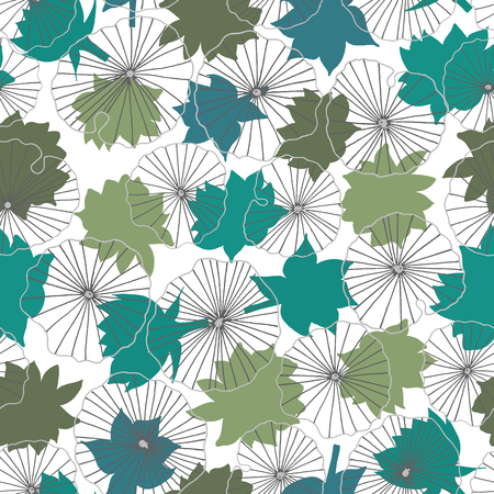 Blue and green waterlilies silhouettes on lineart leaves seamless vector pattern background. Ideal for home decor, fabric, paper goods, packaging. Illustration