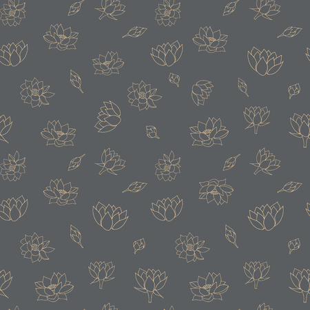 Waterlily flowers seamless vector pattern background texture in a lineart style. Ideal for home decor, fabric, paper goods, packaging. Ideal for home decor, fabric, paper goods, packaging.