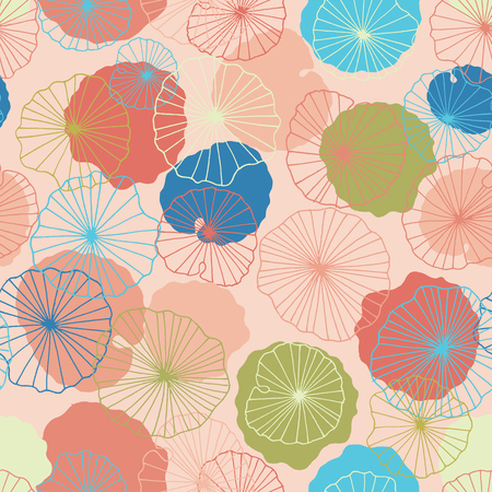 Lotus flower leaves in a pond seamless pattern background texture in a modern colorful style. Vector. Ideal for home decor, fabric, paper goods, packaging, kids fashion.