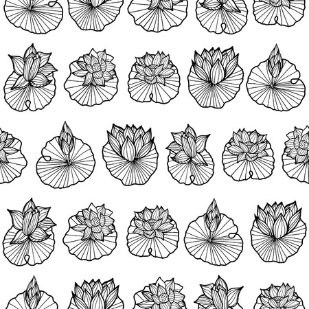 Black and white lineart waterlily-lotus pads arranged in rows seamless vector repeat pattern. Ideal for fabric, home decor, kitchen, apparel, stationery, fashion.