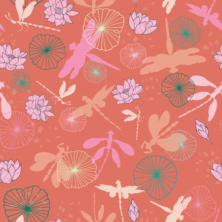 Dragonglies flying over a waterlily pond in an abstract colorful style. Vector seamless pattern background. Ideal for fabric, home decor, kids, stationery, fashion.