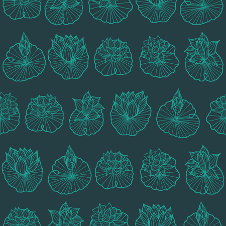 Aqua blue and dark green lineart waterlily-lotus pads arranged in rows seamless vector repeat pattern.