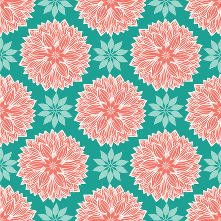 Lotus floral mandalas design in a modern colorful elegant style. Seamless vector repeat pattern. Ideal for home decor, wallpaper, fabric, paper goods, stationery, packaging.