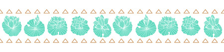 Aqua blue lineart waterlily-lotus pads and gold triangles seamless vector horizontal border.Great for fabric, packaging, wallpaper, invitations.