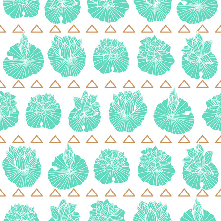 Aqua blue lineart waterlily-lotus pads and gold triangles arranged in rows seamless vector repeat pattern.