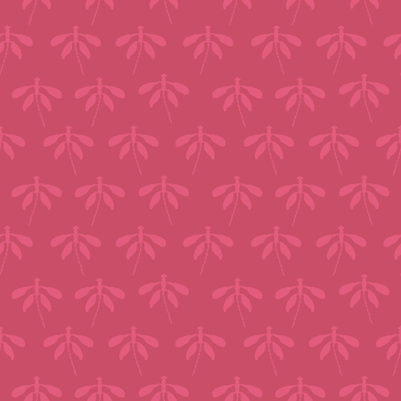 Bright pink abstract dragonfly silhouettes vector seamless texture pattern. Ideal for home decor, apparel, paper goods, packaging. Illustration