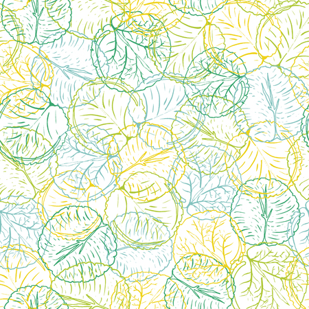 Abstract colorful waterlily or lotus flower leaves vector seamless pattern in a line art hand drawn style with layered effect. Ideal for fabric, home decor, stationery, fashion accessories.