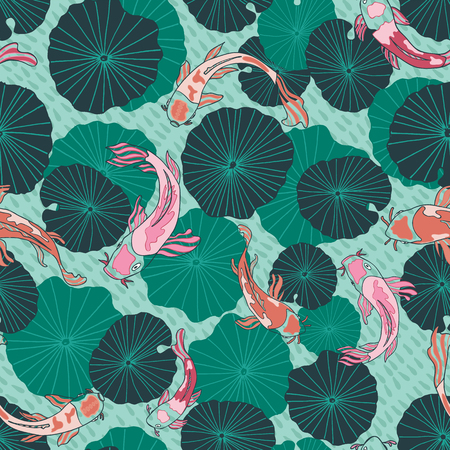 Seamless vector pattern with hand drawn Koi fish or Japanese carps and waterlily or lotus leaves in a modern, colorful graphic style. Great for fabric, home decor, stationery, fashion accessories. 版權商用圖片 - 114638290