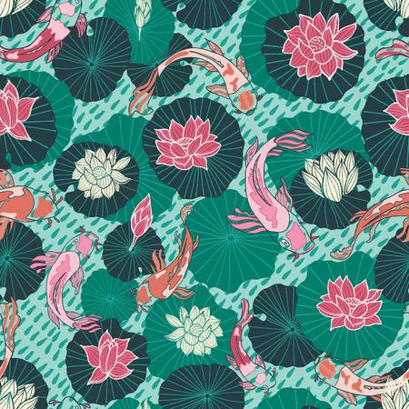 Patrón de vector transparente con peces Koi dibujados a mano o carpas japonesas y almohadillas de loto en un estilo gráfico moderno y colorido. Ideal para telas, decoración del hogar, papelería, accesorios de moda. Ilustración de vector