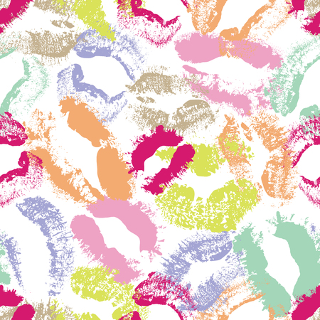 Dynamic pastel lip imprints seamless vector texture pattern background in a graphic modern style. Great for Valentine s day, textile, home decor, fashion and stationery. Ilustração