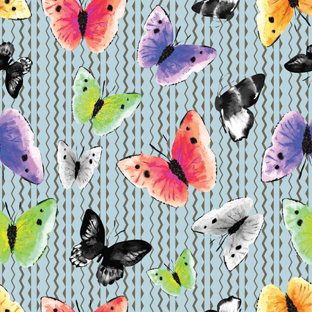 Watercolor monochrome and multicolored butterflies on a graphic, modern ethnic zig zag background. Seamless vector pattern. Great for textile, home decor, fashion and stationery.