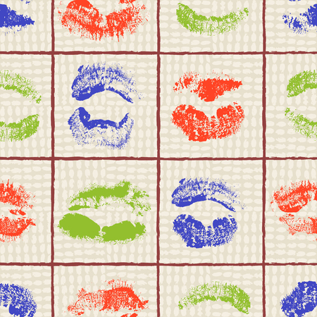 Colorful lipstick imprints arrranged in a grid on a canvas background in a vibrant a pop art style. Seamless vector pattern. Ideal for Valentine s day, textile, home decor, fashion and stationery.