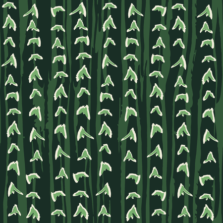 Abstract hand drawn striped design with spiky organic forms. Cactus skin inspired seamless vector pattern.